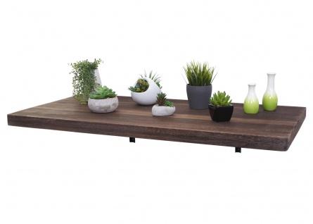 Wandtisch HWC-H48, Wandklapptisch Wandregal Tisch, klappbar Massiv-Holz ~ 100x50cm shabby braun - Vorschau 3