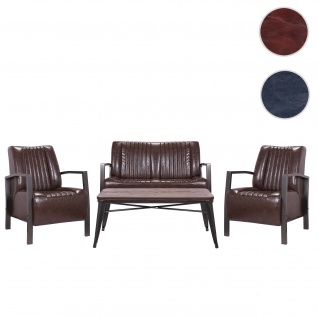 2x Sessel+2er Sofa+Couchtisch HWC-H10, Loungesofa Polstersessel Kaffeetisch Industrial FSC zertifiziert braun