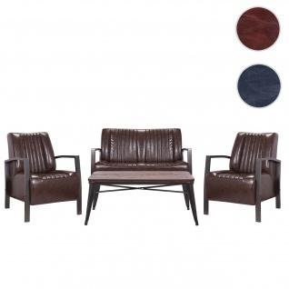 Wohnzimmer-Set HWC-H10, 2er Sofa Polstersessel Couchtisch, Kunstleder Metall Industrial FSC ~ braun