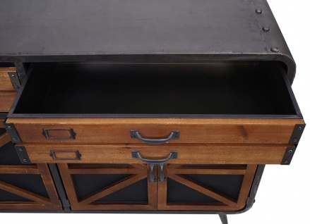 Sideboard HWC-F91, Kommode Schrank Highboard, Industrial Tanne Holz Metall 80x126x38cm, braun-schwarz - Vorschau 3