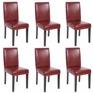 6x Esszimmerstuhl Stuhl Küchenstuhl Littau ~ Kunstleder, rot-braun, dunkle Beine