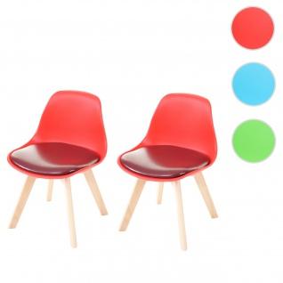 2x Kinderstuhl HWC-E81, Kinderhocker Stuhl Kindermöbel Kinderzimmer, 55x38x39cm ~ Kunstleder, rot
