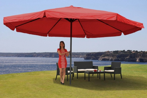 Alu-Sonnenschirm Meran Pro mit Volant Ø 5m bordeaux ohne Ständer
