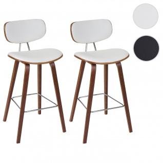 2x Barhocker HWC-C32, Barstuhl Tresenhocker, Retro-Design Holz Bugholz Walnuss-Optik weiß