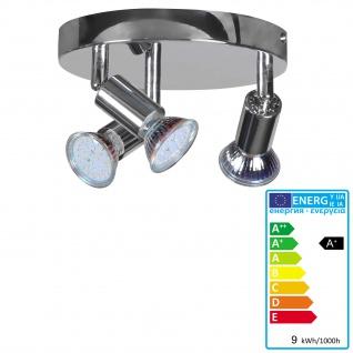 LED Deckenspot A144, Deckenleuchte Deckenlampe, 9W-LED, EEK A+, 3 flammig, verchromt