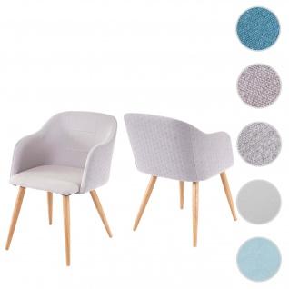 2x Esszimmerstuhl HWC-D71, Stuhl Küchenstuhl, Retro Design, Armlehnen Stoff/Textil ~ hellgrau-grau