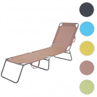 Sonnenliege HWC-B11, Relaxliege Gartenliege, Stoff/Textil klappbar braun