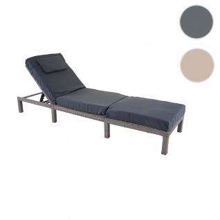 Poly-Rattan Sonnenliege HWC-A51, Relaxliege Gartenliege Liege ~ Premium grau, Kissen dunkelgrau