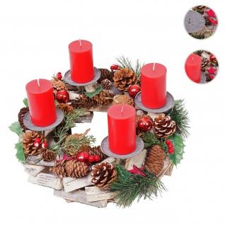 Adventskranz HWC-H49, Weihnachtsdeko Adventsgesteck Weihnachtsgesteck, Holz rund Ø 33cm ~ inkl. 4x Kerzen rot