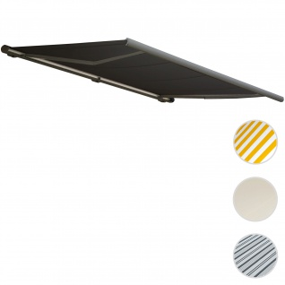 Elektrische Kassettenmarkise T123, Markise Vollkassette 4, 5x3m ~ Acryl anthrazit, Rahmen grau