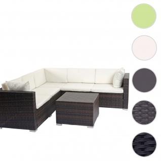 Poly-Rattan Sofa-Garnitur ROM Basic, Sitzgruppe Lounge-Set, Alu braun-meliert, Kissen creme