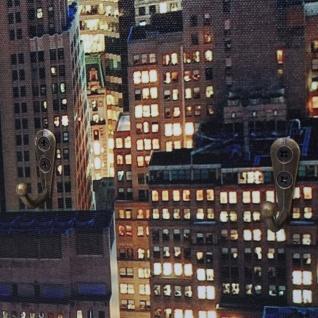 Foto-Wandgarderobe HWC-C75, Garderobe LED-Wandbild, 6 Haken 40x80cm, New York - Vorschau 5