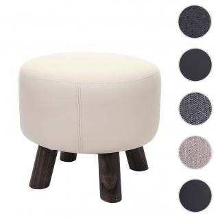 Sitzhocker HWC-C29, Ottomane Hocker Fußhocker, Ø 42cm rund ~ Kunstleder creme