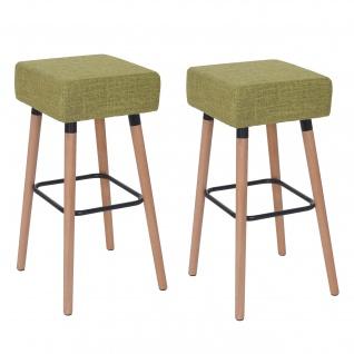 2x Barhocker Stirling, Barstuhl Tresenhocker hellgrün, Textil