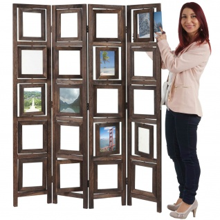 Paravent Fotogalerie, Raumteiler Trennwand Foto-Paravent braun
