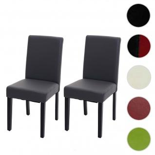 2x Esszimmerstuhl Stuhl Küchenstuhl Littau ~ Kunstleder, grau matt, dunkle Beine