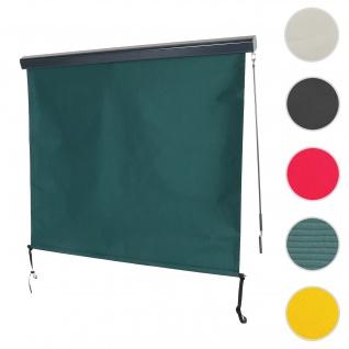 Vertikalmarkise HWC-F42, Senkrechtmarkise Sichtschutz Außenrollo Rollo, UV-Schutz 50 Stoff ~ 250x180cm, blau-grün