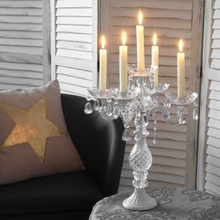 Kerzenständer Kristall, Kerzenleuchter Kerzenhalter, Acryl 5-armig 44x35x35cm weiß