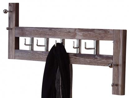 Wandgarderobe H58, Garderobenpaneel Garderobe, 36x60x8cm ~ braun
