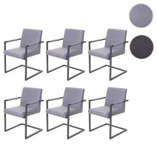 6x Esszimmerstuhl HWC-D34, Freischwinger Küchenstuhl Stuhl