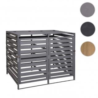 XL 2er-/4er-Mülltonnenverkleidung HWC-H62, Mülltonnenbox, erweiterbar 110x65x93cm Massiv-Holz ~ hellgrau
