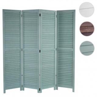 Paravent HWC-C30, Raumteiler Trennwand Sichtschutz, Shabby-Look Vintage, 170x160cm ~ grün