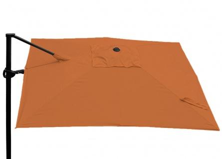 Gastronomie-Ampelschirm HWC-A39, 3x3m (Ø4, 24m) schwenkbar drehbar, Polyester/Alu 31kg ~ terrakotta mit Ständer - Vorschau 3
