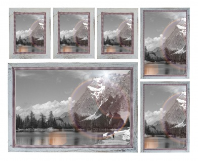 Bilderrahmen Set, Fotorahmen Holzrahmen, 3x 21x26cm 2x 26x36cm 1x 46x66cm Shabby Landhaus weiß