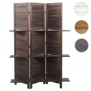 Paravent Yvelines, Trennwand Raumteiler mit Regalböden 170x125cm, Shabby Look ~ braun/braun