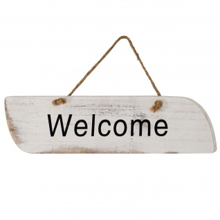 Wandschild Welcome, Dekoschild, Shabby-Look 10x43x1cm weiß