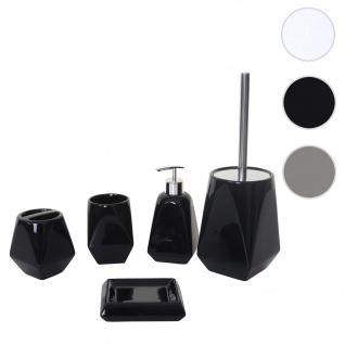 5-teiliges Badset HWC-C71, WC-Garnitur Badezimmerset Badaccessoires, Keramik ~ schwarz