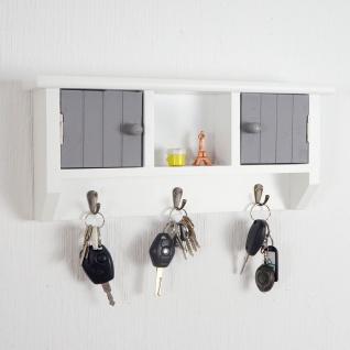 Schlüsselbrett HWC-A48, Schlüsselkasten Schlüsselboard mit Türen, Massiv-Holz ~ grau-weiß - Vorschau 2