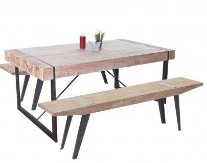 Esszimmergarnitur HWC-A15b, Esstisch + 2x Sitzbank, Tanne Holz rustikal massiv 160cm