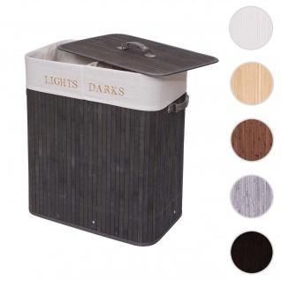 Wäschekorb HWC-C21, Laundry Wäschebox Wäschesammler Wäschebehälter, Bambus 2 Fächer 63x55x34cm 100l ~ dunkelgrau