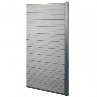 WPC-Sichtschutz Sarthe, Windschutz Zaun, Alu-Pfosten ~ Erweiterungselement schmal, 0, 95m grau