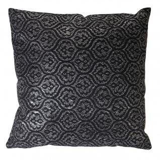 Deko-Kissen Barock, Sofakissen Zierkissen mit Füllung, schwarz Glanz-Effekt 45x45cm