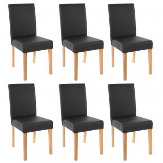 6x Esszimmerstuhl Stuhl Küchenstuhl Littau ~ Kunstleder, schwarz matt, helle Beine
