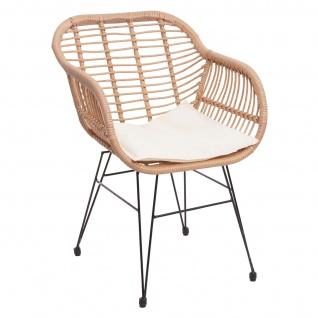 Poly-Rattan Garnitur HWC-G17, Balkon-Set Gartengarnitur Sitzgarnitur Sitzgruppe Stuhl ~ naturfarben, Kissen creme - Vorschau 3