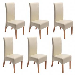 6x Esszimmerstuhl Küchenstuhl Stuhl Latina, LEDER creme, helle Beine