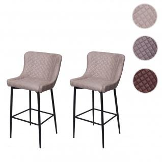 2x Barhocker HWC-H79, Barstuhl Tresenhocker, Vintage Metall Fußablage ~ Stoff/Textil grau