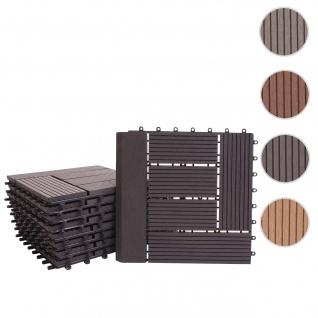 WPC Bodenfliese Rhone + Abschluss, Holzoptik Balkon/Terrasse, 11x je 30x30cm = 1qm Premium ~ anthrazit versetzt
