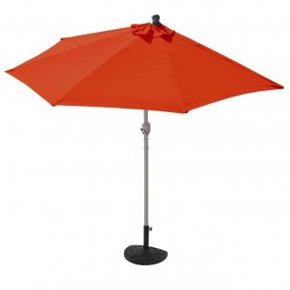Sonnenschirm halbrund Parla, Halbschirm, UV 50+ Polyester/Alu 3kg ~ 270cm terrakotta mit Ständer