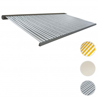 Elektrische Kassettenmarkise T122, Markise Vollkassette 4x3m ~ Polyester Grau/Weiß, Rahmen aluminium
