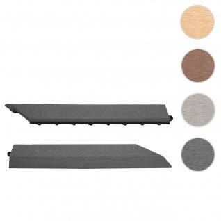 2x Abschlussleiste für WPC Bodenfliese Rhone, Abschlussprofil, Holzoptik Balkon/Terrasse ~ anthrazit rechts ohne Haken