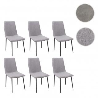 6x Esszimmerstuhl HWC-F47, Stuhl Küchenstuhl, Vintage ~ Stoff/Textil, grau
