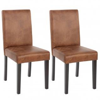 2x Esszimmerstuhl Stuhl Küchenstuhl Littau ~ Textil, Wildlederimitat, dunkle Beine