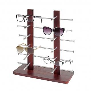 Brillenständer Vendee, Brillenhalter Brillendisplay für 12 Brillen, 42x39cm ~ braun