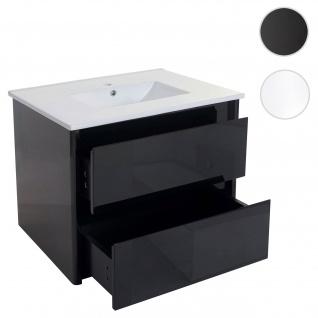 Waschbecken + Unterschrank HWC-B19, Waschbecken Waschtisch Badezimmer,  hochglanz 50x80cm schwarz