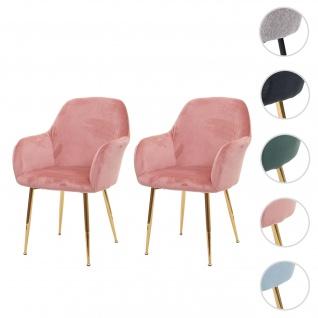 2x Esszimmerstuhl HWC-F18, Stuhl Küchenstuhl, Retro Design ~ Samt altrosa, goldene Beine