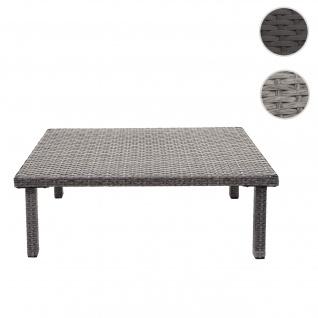 Poly-Rattan Couchtisch HWC-G16, Gartentisch Balkontisch Loungetisch, Gastronomie 80x50cm grau